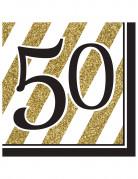 16 tovaglioli 50 anni nero e oro