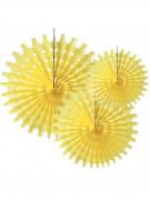 3 Ventagli di carta colore giallo a rosette 20 cm, 25 cm e 30 cm
