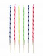12 candele colorate con supporto e motivo a spirale
