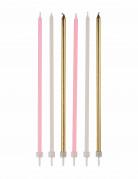 16 grandi candele rosa, bianche e oro