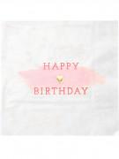 16 tovaglioli di carta rosa e oro di 33 x 33 cm