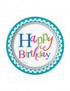 Confezione da 8 piatti di carta Happy Birthday 17 cm