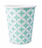 8 bicchieri di carta con motivo a rosette color menta 25 cl