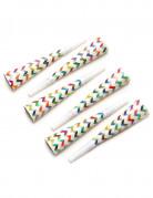 6 Trombette multicolore a zigzag in carta