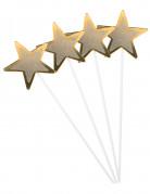4 Bacchette magiche da 36 cm con stelle di cartone dorato