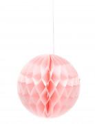 Sfera di carta con struttura a nido d'ape color rosa confetto diametro 12 cm