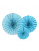 3 ventagli blu di carta