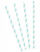 10 cannucce di carta a strisce di colore azzurro