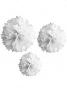 3 ponpon di carta bianchi 20, 30 e 40 cm
