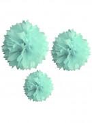 3 ponpon di carta color menta 20 30 e 40 cm