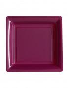 12 piattini quadrati in plastica prugna