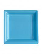 12 piattini quadrati in plastica azzurri