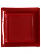 12 piatti quadrati di plastica bordeaux 23.5 cm