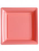 12 piatti quadrati di plastica rosa