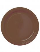 50 piattini in plastica color cioccolato