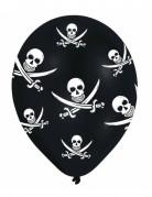 6 palloncini Pirata con teschi