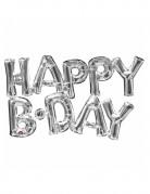 Palloncino di alluminio Happy B-day argento