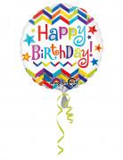 Palloncino in alluminio zig zag Happy Birthday
