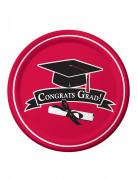 18 piatti rossi Congrats Grad 22 cm