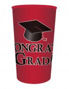 Bicchiere di plastica rosso Congrats Grad