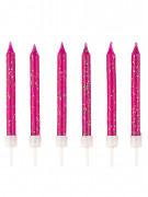 12 candeline fucsia con brillantini