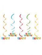 5 sospensioni a spirale Happy Birthday