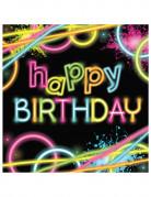 16 tovaglioli di carta Happy Birthday Fluo