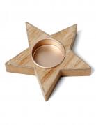 Portacandela a forma di stella in legno e paillettes ramate