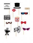 Kit photobooth 12 pezzi tema cinema
