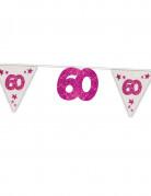 Ghirlanda con filo trasparente rosa 60 anni
