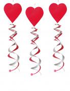 3 sospensioni a spirale con cuori rossi