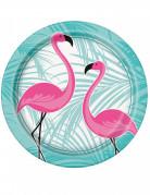 8 piatti in cartone fenicottero rosa 22 cm