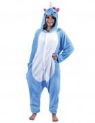 Costume tuta unicorno blu per adulto