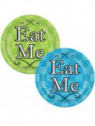 8 piatti di cartone verdi e blu di Alice 23 cm