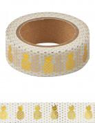 Washi tape bianco con ananas dorate