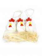 Decorazione Pasqua galline con paglia