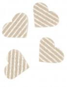 24 coriandoli cuori in lino a righe