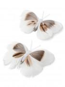 2 farfalle su molletta bianche e beige