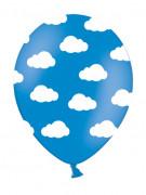 6 palloncini blu con nuvolette