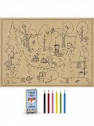 6 disegni da colorare e 6 matite foresta