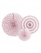 3 rosoni di carta rosa chiaro con motivi bianchi