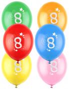 12 palloncini in lattice colorati con stelle numero 8