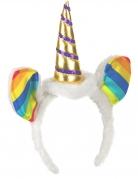 Cerchietto unicorno con orecchie multicolor adulto