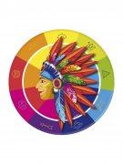 8 piatti in cartone indiani multicolor 23 cm