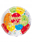 Palloncino alluminio Happy Birthday multicolore e oro