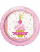 8 piattini in cartone 1 anno rosa e oro 18 cm