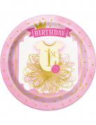 8 piatti di cartone 1 anno rosa e oro 23 cm
