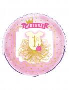 Palloncino alluminio 1 anno rosa e dorato
