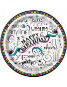8 piatti in cartone doodle Happy Birthday 23 cm
