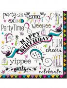 16 tovaglioli di carta Doodle Happy Birthday